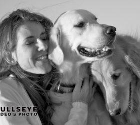 woman with dogs, golden retriever, labrador retriever, phoenix pet photography